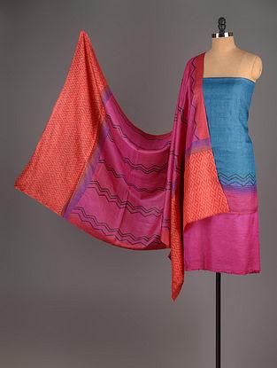Fuschia-Orange-Blue Tussar Silk Block Printed Kurta Fabric with Salwar and Dupatta - Set of 3