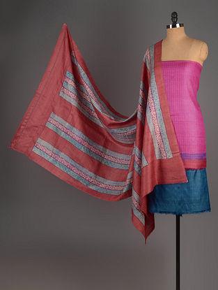 Pink-Red-Blue Tussar Silk Block Printed Kurta Fabric with Salwar and Dupatta - Set of 3