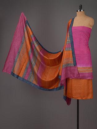 Fuschia-Rust-Blue Tussar Silk Block Printed Kurta Fabric with Salwar and Dupatta - Set of 3