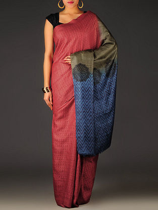 Maroon-Blue Geometric Tussar Silk Block Printed Saree