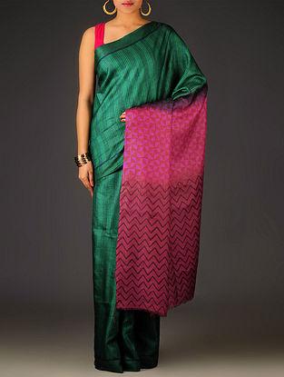 Green-Red Geometric Tussar Silk Block Printed Saree