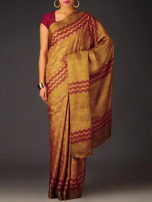 Mustard-Fuschia Leaf Tussar Silk Block Printed Saree