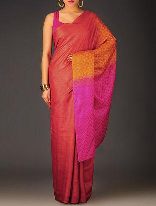 Red-Orange Geometric Tussar Silk Block Printed Saree