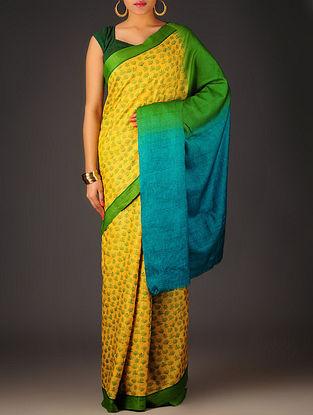 Yellow-Green Floral Tussar Silk Block Printed Saree