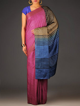 Pink-Beige Abstract Tussar Silk Block Printed Saree