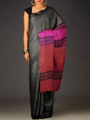 Black-Grey-Red Zig Zag Tussar Silk Block Printed Saree