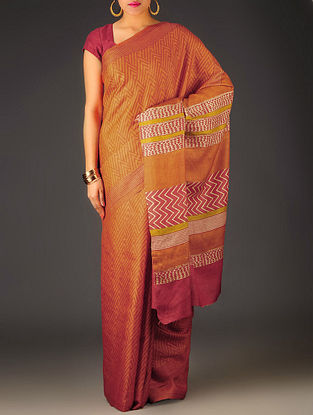 Orange-Beige Geometric Tussar Silk Block Printed Saree