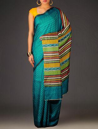 Blue-Mustard Herringbone Tussar Silk Block Printed Saree
