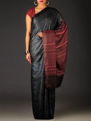 Dark Grey-Maroon Floral Tussar Silk Block Printed Saree
