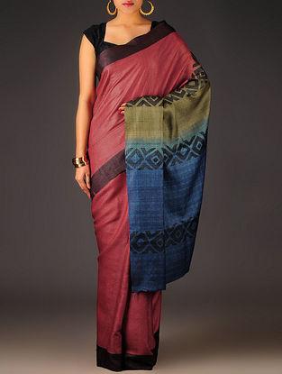 Red-Beige-Blue Geometric Tussar Silk Block Printed Saree