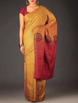 Mustard-Red Geometric Tussar Silk Block Printed Saree