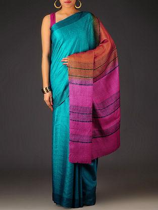 Blue-Fuschia Geometric Tussar Silk Block Printed Saree