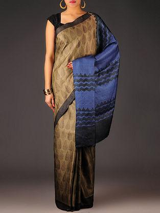 Brown-Blue-Red Leaf Tussar Silk Block Printed Saree