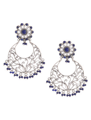 Lapis Lazuli Silver Earrings with Floral Design