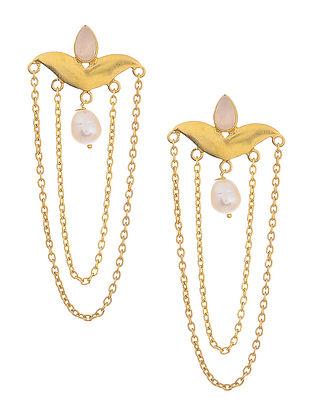 Rose Quartz Gold Tone Pearl Drop Silver Earrings