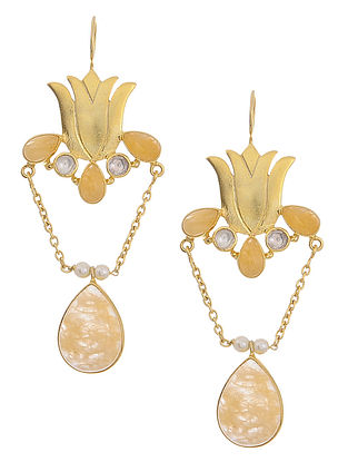Yellow Quartz and Crystal Gold Tone Silver Earrings with Lotus Design