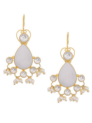 Mother of Pearl and Crystal Gold Tone Silver Earrings
