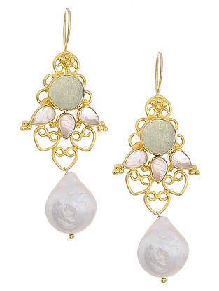 Green Aventurine and Rose Quartz Gold Tone Pearl Drop Silver Earrings