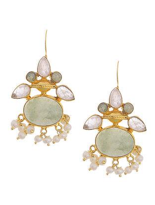 Green Aventurine and Rose Quartz Gold Tone Silver Earrings