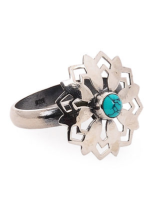Turquoise Silver Ring with Floral Design (Ring Size -7)