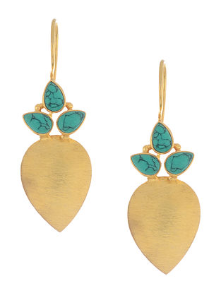 Turquoise Gold Tone Silver Earrings