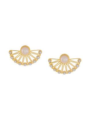 Pearl Drop Gold Tone Silver Earrings