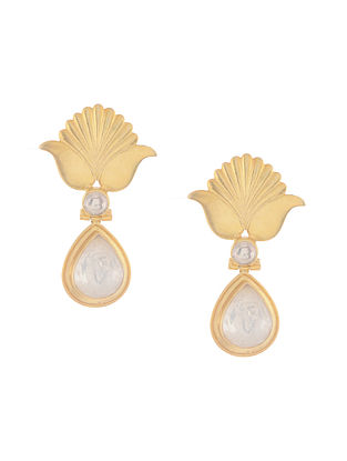 Crystal Gold Tone Silver Earrings