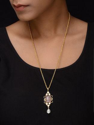 Rose Quartz Gold Tone Silver Necklace