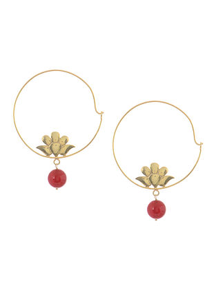 Quartz Gold Tone Silver Earrings with Floral Design