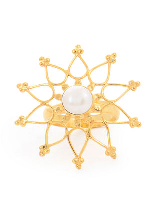 Gold Tone Pearl Adjustable Silver Ring