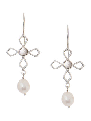Rose Quartz and Pearl Silver Earrings