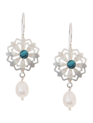 Turquoise and Pearl Silver Earrings