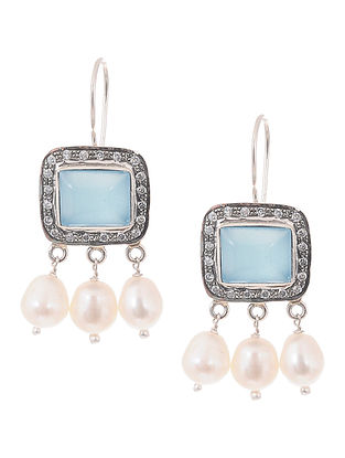 Chalcedony and Pearl Silver Earrings