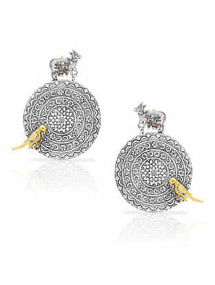 Dual Tone Vintage Silver Earrings