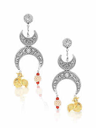 Dual Tone Vinatge Silver Earrings with Pearls