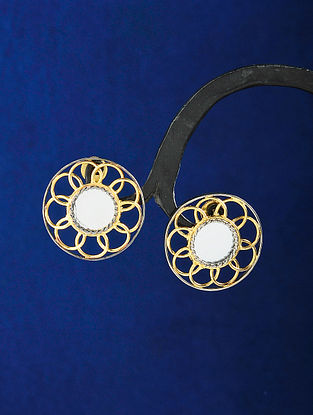 Dual Tone Handcrafted Earrings with Mirror