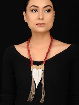 Red Beige Silver Tone Handcrafted Necklace