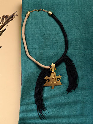 Black Beige Gold Tone Handcrafted Necklace