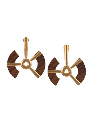 Gold Tone Handcrafted Earrings with Wood