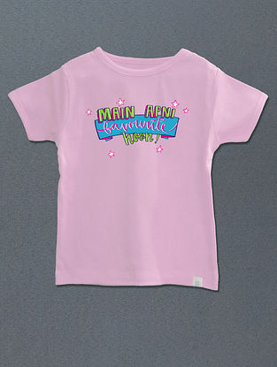 Main Apni Favourite Hoon Pink Cotton T-shirt