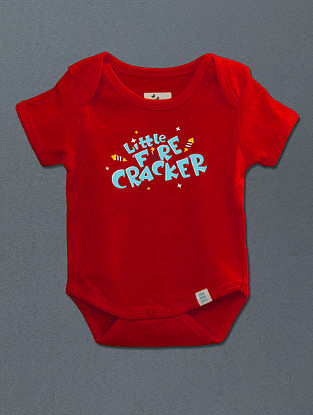 Little Fire Cracker Red Cotton Onesie