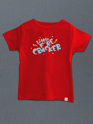 Little Fire Cracker Red Cotton T-shirt