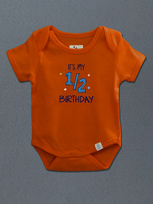 Its My Half Birthday Orange Cotton Onesie