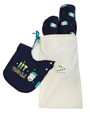 Beebeeboo Owl Blue Cotton Bib, Burp Cloth and Blanket (Set of 3)