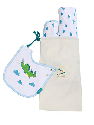 Beebeeboo Dramebaaz White and Blue Cotton Bib, Burp Cloth, and Blanket (Set of 3)
