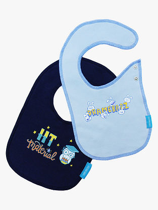 Blue Cotton Bibs (Set of 2) (40cm x 22cm)