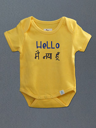 Hello Main Naya Hoon Yellow Cotton Onesie
