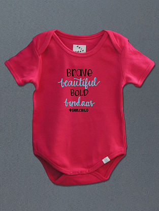 Barve Beautiful Bold Bindass Pink Cotton Onesie