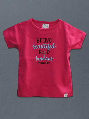 Barve Beautiful Bold Bindass Pink Cotton T-shirt