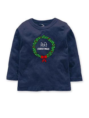 Meri Christmas Navy Cotton T-Shirt